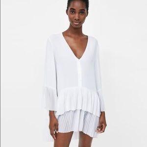 Zara White Pleated Dress